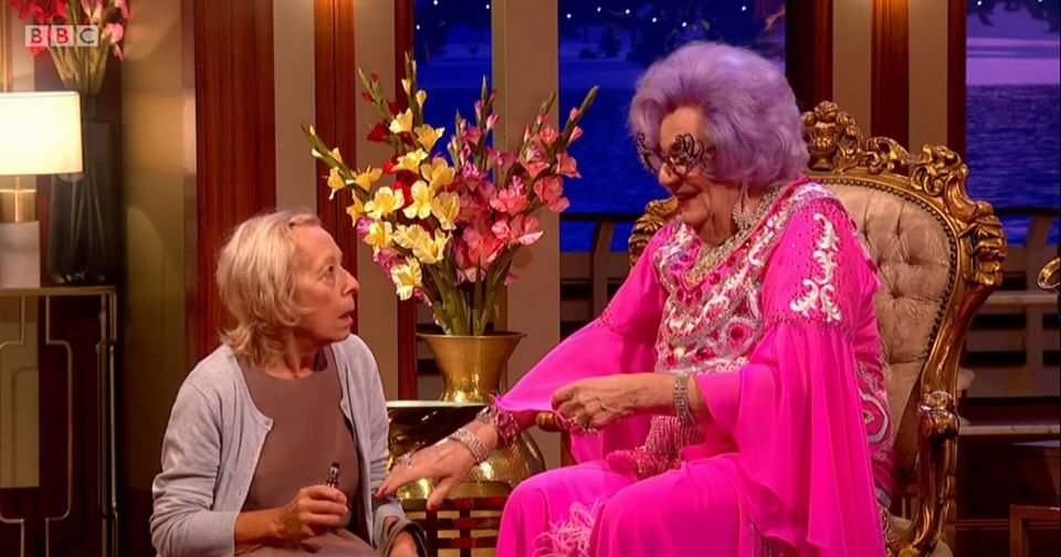 With Dame Edna